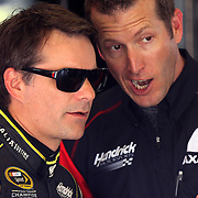 Sprint Cup Series driver Jeff Gordon (24) is seen in the garage area during the 57th Annual NASCAR Coke Zero 400 race first practice session at Daytona International Speedway on Friday, July 3, 2015 in Daytona Beach, Florida.  (AP Photo/Alex Menendez)