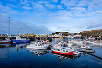STYKKISHOLMUR, ICELAND - CIRCA MARCH 2015: Port of Stykkisholmur in the Snaefellsness Peninsula, West Iceland.