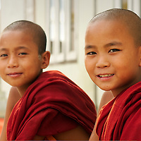 Young monks outside Shwe Yan Pya  monastery
