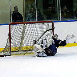 WHITBY, ON - Jan 5 : Ontario Junior Hockey League game action between the Whitby Fury and the Toronto Lakeshore Patriots. Evan Buitenhuis makes the save during the shootout.<br /> (Photo by Tim Bates / OJHL Images)