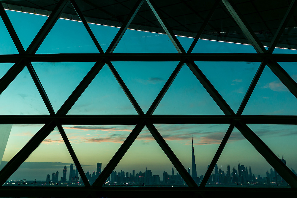 APRIL 20, 2016: Dubai Skyline from Meydan Hotel.