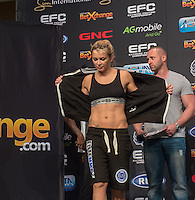 20151006, GRANDWEST, CAPE TOWN, SOUTH AFRICA: Kirsty Davis - flyweight - during EFC 45 Weigh-in at GrandWest Casino, Cape Town, South Africa. <br /> (Photo by Anton Geyser / EFC Worldwide 2015)