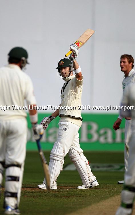Australia's Michael Clarke celebrates his 50 runs.<br /> 1st cricket test match - New Zealand Black Caps v Australia, day one at the Basin Reserve, Wellington.Friday, 19 March 2010. Photo: Dave Lintott/PHOTOSPORT