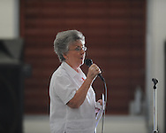 Delores Swann sings during a Memorial Day ceremony at the National Guard Armory  in Oxford, Miss. on Monday, May 27, 2013.