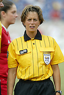 3 July 2004: Referee Kari Seitz of the United States. The United States beat Canada 1-0 at the The Coliseum in Nashville, TN in an womens international friendly soccer game..
