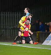 Partick Thistle's Christie Elliot congratulates Callum Booth on his goal - Partick Thistle v Dundee in the Ladbrokes Scottish Premiership at Firhill, Glasgow - Photo: David Young, <br /> <br />  - &copy; David Young - www.davidyoungphoto.co.uk - email: davidyoungphoto@gmail.com
