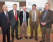 Jonathon Forbes, Kepak, Declan Fennell, Bord Bia, James Murphy IFA (Sheep),  Shane McEntee TD, Minister of State at the Department of Agriculture Food and the Marine, Michael Casey, Dept of Agriculture at the launch of Sheep 2012. Photo:Andrew Downes