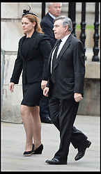 Former Labour Party British Prime Minister Gordon Brown with his wife Sarah Brown arrive for the funeral of Baroness Thatcher at St Paul's Cathedral, London, UK, Wednesday 17 April, 2013. Photo by: Andrew Parsons / i-Images