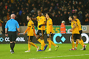 Wolverhampton Wanderers forward Ivan Cavaleiro (7) scores a goal and celebrates 2-0 during the Premier League match between Wolverhampton Wanderers and Bournemouth at Molineux, Wolverhampton, England on 15 December 2018.