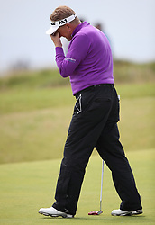 England's Paul Broadhurst looks dejected during day three of the Senior Open at Royal Porthcawl Golf Club, Porthcawl.