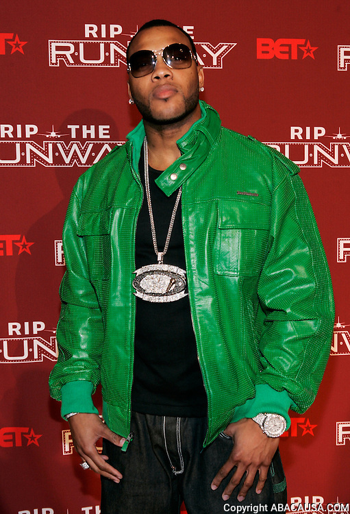 Rapper Flo Rida poses in the 2008 Rip The Runway press room at the Manhattan Center in New York City, USA on February 21, 2008.