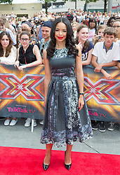 Image ©Licensed to i-Images Picture Agency. 01/08/2014. London, . RED CARPET ARRIVALS AT THE X FACTOR 2014. Sarah-Jane Crawford arrives at the X-Factor auditions at Wembley Arena. Picture by Daniel Leal-Olivas / i-Images