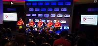 Virgin Money London Marathon 2015<br /> <br /> Todays Press conference featuring Dick Beardsley and Inge Simonsen the joint mens winners from the first London Marathon in 1981 35 years ago.<br /> Also Joyce Smith who won the first Ladies Race in 1981.<br /> <br /> Left to Right<br /> Tim Hutchings (Presenter)<br /> Joyce Smith  (Womens Winner 1981)<br /> Dick Beardsley (Mens Joint winner 1981)<br /> Inge Simonsen (Mens Joint winner 1981)<br /> Hugh Brasher (Race Director)<br /> <br /> <br /> Photo: Bob Martin for Virgin Money London Marathon<br /> <br /> This photograph is supplied free to use by London Marathon/Virgin Money.