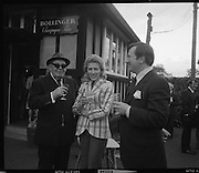 The Bollinger Bar at Phoenix Park..1972..07.10.1972..10.07.1972..7th October 1972..As part of the Phoenix Park races Bollinger opened a bar to facilitate the Champagne tastes of the racegoers...Pictured taking in the delights of the Bollinger Champagne Bar were Mr Tom McCairns,racehorse owner, Mrs Jackie Ward,lady jockey and Mr Tom Whelehan,Director,Irish Vitners Ltd.
