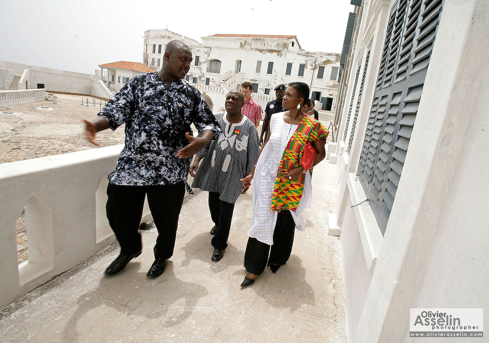 Leader of the House of Lords Baroness Valerie Amos listens to explanations from a tour guide as she visits the former slave fort of Cape Coast Castle in Cape Coast, Ghana, on Sunday Mar 4, 2007. Amos was visiting on the occasion of the 200th anniversary of the abolition of slave trade, which coincides with Ghana's 50th anniversary of independence...