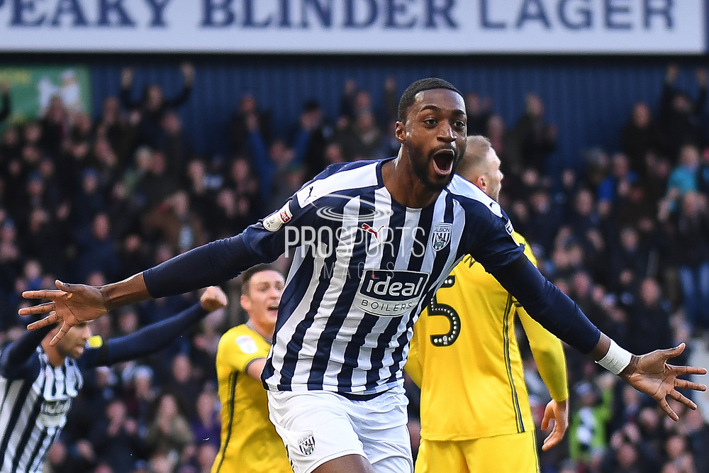 West Bromwich Albion defender Semi Ajayi (6) scores a goal and celebrates  1-0 during the EFL Sky Bet Championship match between West Bromwich Albion and Swansea City at The Hawthorns, West Bromwich, England on 8 December 2019.