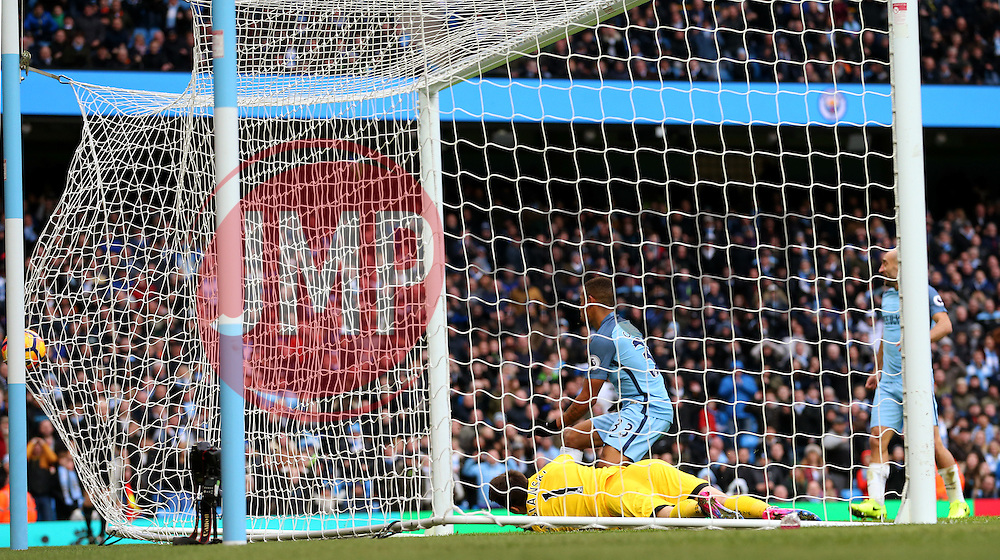 Gabriel Jesus of Manchester City scores his sides second goal  - Mandatory by-line: Matt McNulty/JMP - 05/02/2017 - FOOTBALL - Etihad Stadium - Manchester, England - Manchester City v Swansea City - Premier League