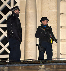 © Licensed to London News Pictures. 29/11/2015. London, UK.  Armed police watch as Members of the group Fathers 4 Justice protest on the roof of part of Buckingham Palace in London. Photo credit: Ben Cawthra/LNP