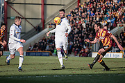 Gary Madine (Bolton Wanderers) controls the ball on his chest as he runs forward to set up a Bolton Wanderers attack during the EFL Sky Bet League 1 match between Bradford City and Bolton Wanderers at the Coral Windows Stadium, Bradford, England on 18 February 2017. Photo by Mark P Doherty.