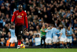 Manchester United's Romelu Lukaku appears dejected during the Premier League match at the Etihad Stadium, Manchester.