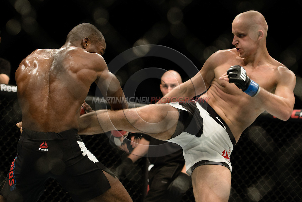 GLASGOW, SCOTLAND, JULY 18, 2015: Leon Edwards (black shorts with white stripe) defeats Pawel Pawlak by judge's decision during UFC Fight Night 72 inside the SSE Hydro Arena in Glasgow. (Martin McNeil for ESPN)