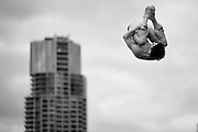 GOLD COAST, AUSTRALIA - OCTOBER 30: (EDITORS NOTE: Image has been converted to black and white.) Martin Wolfran of Germany warms up on the 1m Springboard during the FINA Grand Prix on October 30, 2015 on the Gold Coast, Australia.  (Photo by Matt Roberts/Getty Images)