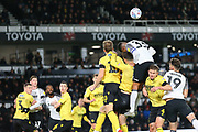 *Derby County defender Curtis Davis (33) wins the header during the EFL Sky Bet Championship match between Derby County and Millwall at the Pride Park, Derby, England on 14 December 2019.