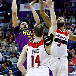 Jan 29, 2017; New Orleans, LA, USA; New Orleans Pelicans forward Anthony Davis (23) shoots over Washington Wizards forward Markieff Morris (5) and forward Jason Smith (14) during the second half of a game at the Smoothie King Center. The Wizards defeated the Pelicans 107-94. Mandatory Credit: Derick E. Hingle-USA TODAY Sports