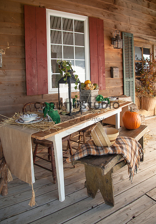 Vintage harvest celebration on the porch