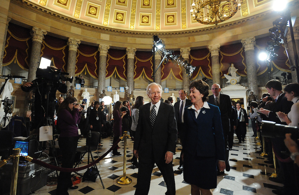 Senator Lieberman walks through Statuary Hall on the way to the State of the Union address on Wed. Jan. 27, 2010. (Amanda Lucidon/For The New York Times)