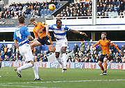 Wolverhampton Wanderers midfielder Dave Edwards gets an attacking header goalwards during the Sky Bet Championship match between Queens Park Rangers and Wolverhampton Wanderers at the Loftus Road Stadium, London, England on 23 January 2016. Photo by Andy Walter.