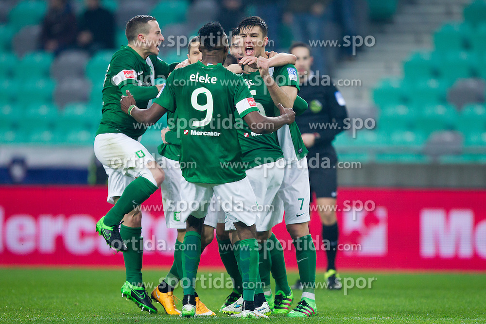 Players of NK Olimpija Ljubljana celebrate during football match between NK Olimpija Ljubljana and FC Koper in 23rd Round of Prva liga Telekom Slovenije 2015/16, on February 28, 2016 in Stadium SRC Stozice, Ljubljana, Slovenia. Photo by Urban Urbanc / Sportida
