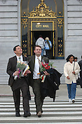 Left to right Joseph Asperin and David Bowik leave San Francisco City Hall after becoming life-partners...Photo by Jason Doiy.2-13-04.