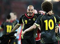 Fotball<br /> EM-kvalifisering<br /> Østerrike v Belgia<br /> 25.03.2011<br /> Foto: Gepa/Digitalsport<br /> NORWAY ONLY<br /> <br /> Bild zeigt den Jubel von Marvin Ogunjimi und Axel Witsel (BEL)