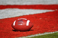 Football rests in the end zone after a Wolfpack touchdown in Carter-Finley Stadium.