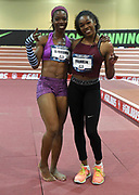 Mar 5, 2017; Albuquerque, NM, USA; Blessing Ufodiama (left) and Tori Franklin pose during the women's triple jump at the USA Indoor Championships at the Albuquerque Convention Center.