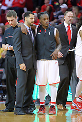 14 January 2017:  Dean Oliver hosts the arm of Paris Lee(1) at half time during warm ups as they have a friendly discussion during an NCAA  MVC (Missouri Valley conference) mens basketball game between the Wichita State Shockers the Illinois State Redbirds in  Redbird Arena, Normal IL