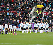 Dundee players Paris during minute's silence for Paris - Hearts v Dundee - SPFL Premiership at Tynecastle<br /> <br />  - &copy; David Young - www.davidyoungphoto.co.uk - email: davidyoungphoto@gmail.com