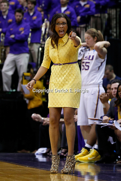 Mar 24, 2013; Baton Rouge, LA, USA; LSU Tigers head coach Nikki Caldwell during the second half of a game against the Green Bay Phoenix in the first round of the 2013 NCAA womens basketball tournament at the Pete Maravich Assembly Center.  LSU defeated Green Bay 75-71. Mandatory Credit: Derick E. Hingle-USA TODAY Sports