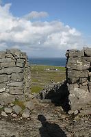 Stone wall at Dun Aonghus fort, Inis Mor the Aran Islands, Connemara, County Galway, Ireland.