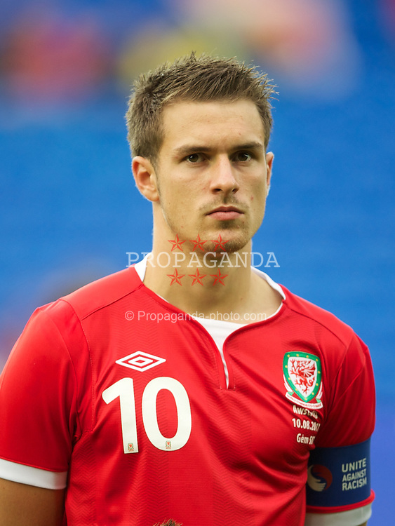 CARDIFF, WALES - Wednesday, August 10, 2011: Wales' captain Aaron Ramsey before an International Friendly match against Australia at the Cardiff City Stadium. (Photo by David Rawcliffe/Propaganda)