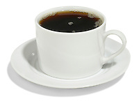 cup of black coffee in a white mug with saucer