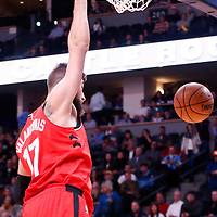 01 November 2017: Toronto Raptors center Jonas Valanciunas (17) dunks the ball during the Denver Nuggets 129-111 victory over the Toronto Raptors, at the Pepsi Center, Denver, Colorado, USA.