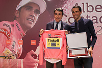 Spanish biker Alberto Contador and Madrid President Ignacio Gonzalez during a special event for winning the 2015 Giro d'Italia, Tour of Italy cycling race, in Madrid, Spain. June 01, 2015. (ALTERPHOTOS/Victor Blanco)