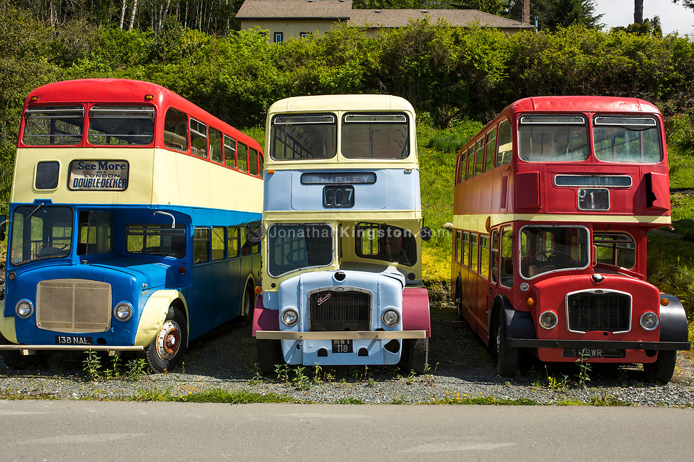 Colorful London double decker buses parked in a gravel lot.
