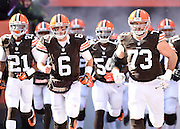 CLEVELAND, OH - DECEMBER 07:  Brian Hoyer #6 of the Cleveland Browns runs onto the field during introductions prior to the game against the Indianapolis Colts at FirstEnergy Stadium on December 7, 2014 in Cleveland, Ohio.  (Photo by Jason Miller/Getty Images) *** Local Caption ***