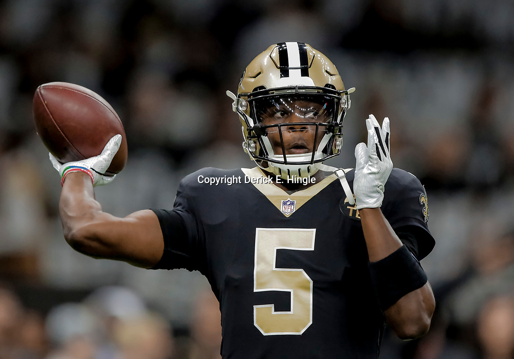 Dec 30, 2018; New Orleans, LA, USA; New Orleans Saints quarterback Teddy Bridgewater (5) prior to kickoff against the Carolina Panthers at the Mercedes-Benz Superdome. Mandatory Credit: Derick E. Hingle-USA TODAY Sports