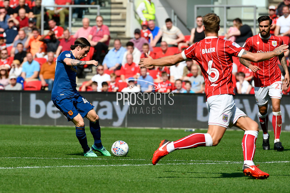 Goal - Harry Wilson (49) of Hull City scores a goal to give a 0-1 lead to the away team during the EFL Sky Bet Championship match between Bristol City and Hull City at Ashton Gate, Bristol, England on 21 April 2018. Picture by Graham Hunt.