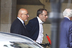 © Licensed to London News Pictures. 18/06/2019. London, UK. Conservative Party leadership candidate Dominic Raab walks with supporter Nadhim Zahawi MP at Parliament as the second round of leadership voting takes place. Boris Johnson has cemented his position as favourite to become the next Prime Minster after winning a clear majority in the first round of the conservative party's leadership race. Photo credit: Peter Macdiarmid/LNP