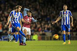Dale Stephens of Brighton & Hove Albion passes under pressure from Jordan Ayew of Aston Villa - Mandatory by-line: Jason Brown/JMP - 18/11/2016 - FOOTBALL - Amex Stadium - Brighton, England - Brighton & Hove Albion v Aston Villa - Sky Bet Championship